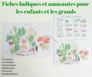 Exemple de fiches ludiques sur les produits de saisons, par la créatrice Ellimac Pinson produits de saison avril