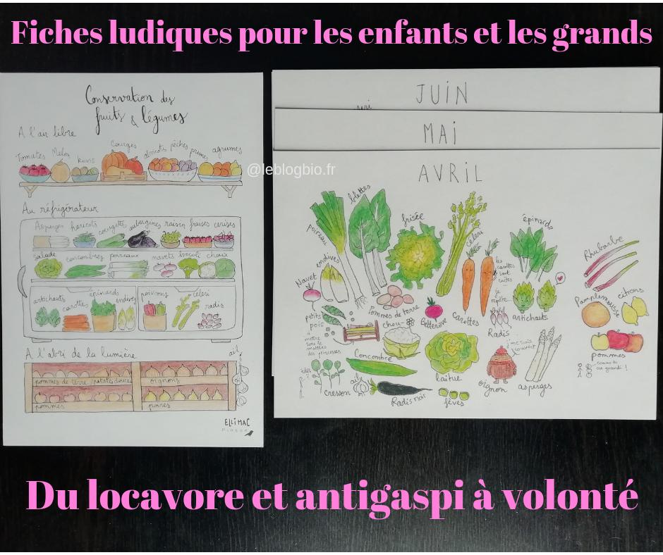 Exemple de fiches ludiques  sur les produits de saisons, par la créatrice Ellimac Pinson
