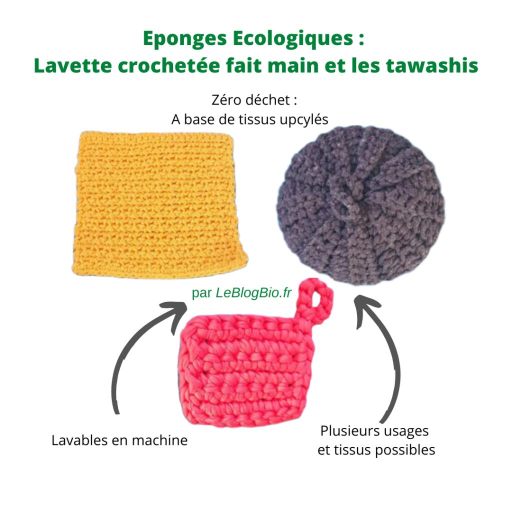 La lavette crochetée fait main et le tawashi et éponge écologique