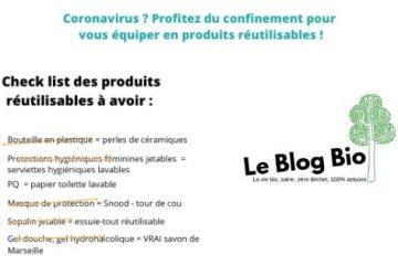 Coronavirus Profitez du confinement pour réorganiser et vous s'équiper en produits réutilisables et zéro déchet