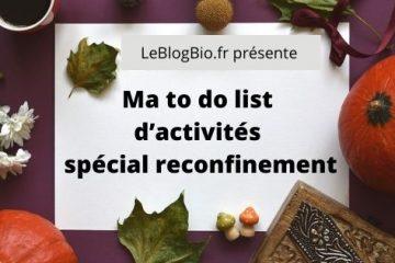 Ma to do list d'activités spécial reconfinement